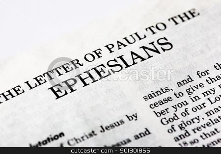 Book of Ephesians stock photo, A macro detail of the book of Ephesians in the Christian New Testament by Tyler Olson
