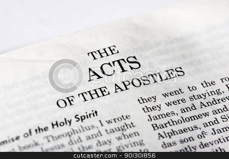 Book of Acts stock photo, A macro detail of the book of Acts in the Christian New Testament by Tyler Olson