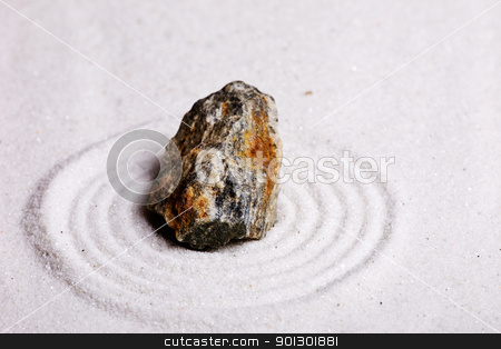 Zen Rock Garden stock photo, A zen rock garden background with white sand. by Tyler Olson