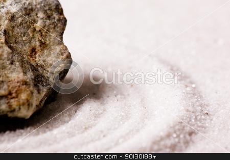 Zen Rock Garden stock photo, A zen rock garden background with white sand. by Tyler Olson