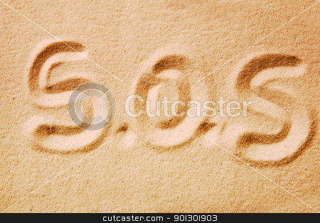 S.O.S. stock photo, S.O.S. written in golden sand - distress message by Tyler Olson