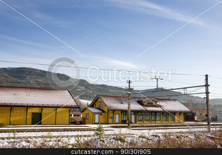 Vikersund Train Station stock photo, A local norwegian train station in the town of Vikersund by Tyler Olson