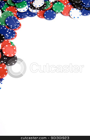 Casino Chip Background stock photo, White casino chip background with copy space by Tyler Olson