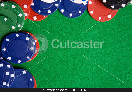 Poker Background stock photo, A green felt background with poker chips by Tyler Olson