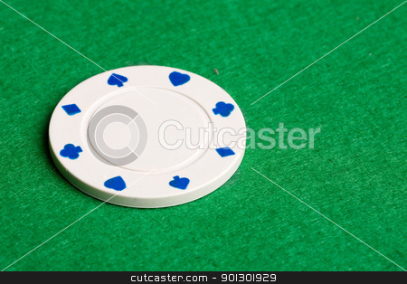 White Poker Chip stock photo, A white one dollar poker chip by Tyler Olson