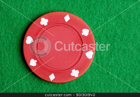 Red Poker Chip stock photo, A red $5 poker chip by Tyler Olson