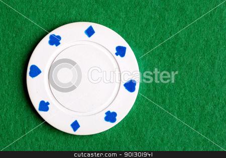 White Poker Chip stock photo, A white one dollar poker chip by Tyler Olson
