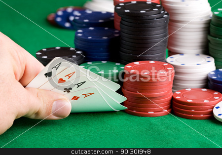 Win Poker stock photo, Four Aces in a poker hand by Tyler Olson