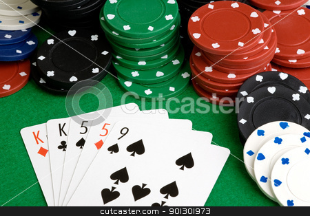 Two Pair stock photo, A poker hand with two pair on a green felt table by Tyler Olson