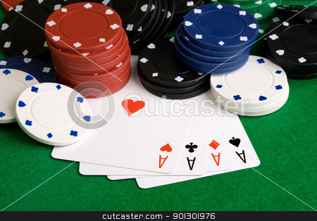 Four Aces stock photo, Four Aces in a poker hand by Tyler Olson