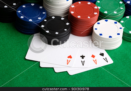Four Aces - cards stock photo, Four Aces in a poker hand by Tyler Olson