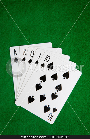Royal Flush stock photo, A royal flush in spades on a green felt background by Tyler Olson