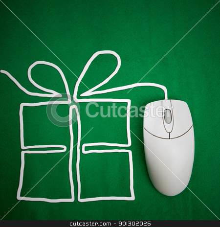 Present Shopping Online stock photo, Online present shopping concept, mouse on green background with present by Tyler Olson