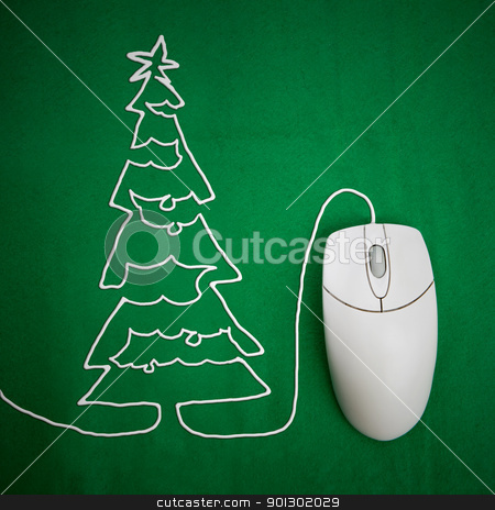 Online Christmas stock photo, Online christmas shopping concept, mouse on green background with christmas tree by Tyler Olson