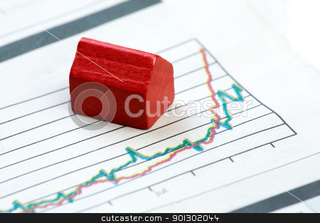 Upwards Housing Graph stock photo, A real estate concept with improving graphs by Tyler Olson