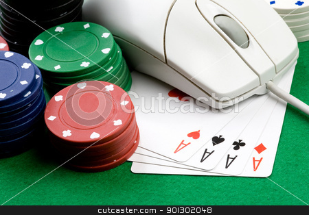 Online Gaming stock photo, Online gaming and gambling concept, green felt, a mouse, cards and casino chips by Tyler Olson