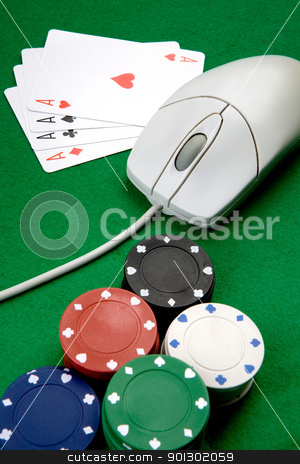 Online Casino stock photo, Online casino concept with mouse, cards and casino chips by Tyler Olson