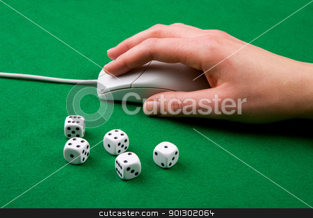 Online Game Concept stock photo, Dice and a computer mouse on a green background. - Online Gaming concept by Tyler Olson