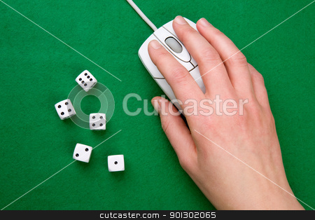 Computer Game stock photo, Dice and a computer mouse on a green background. - Online Gaming concept by Tyler Olson
