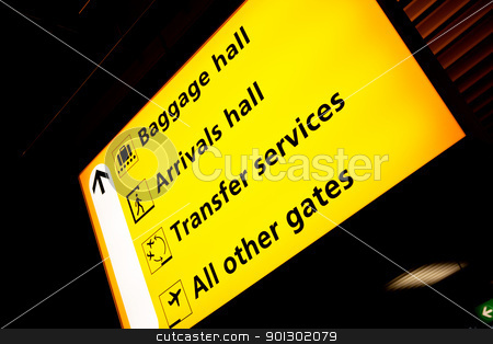 Airport Sign stock photo, A sign at an aiport with directions to various services by Tyler Olson