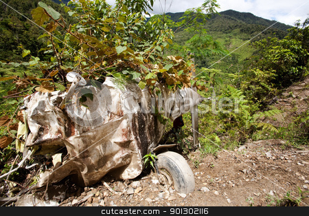 Small Aircraft Crash stock photo, A small airplane crashed on a mountain by Tyler Olson