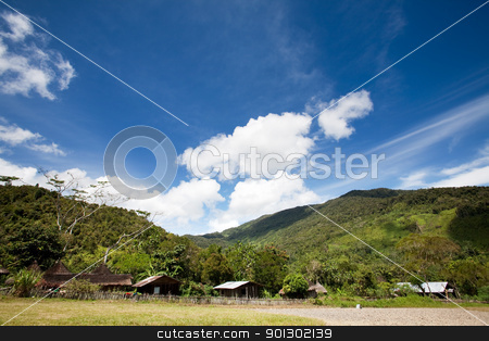 Mountain Village stock photo, A primitive mountain village in Indonesia by Tyler Olson