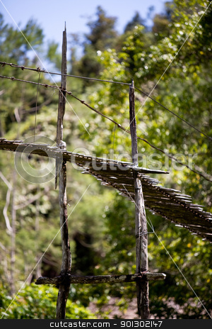 Hanging Bridge Suspension stock photo, Detail of a hanging bridge support by Tyler Olson