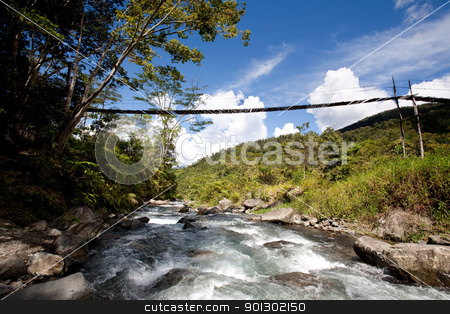 Mountain River with Hanging Bridge stock photo, A hanging bridge over a montain stream by Tyler Olson
