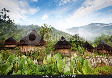 Traditional Hut stock photo, A traditional hut in an Indonesian mountain village by Tyler Olson