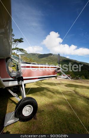 Airplane on Mountain Runway stock photo, A small airplane on a grass mountain runway by Tyler Olson