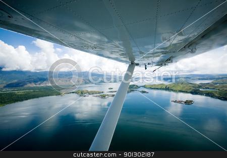 Lake Sentani Indonesia stock photo, Flying over lake Sentani, Papua Indonesia by Tyler Olson