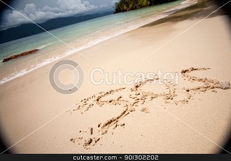 S.O.S stock photo, SOS written in the sand with a strong moody vignette by Tyler Olson