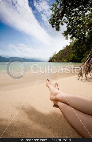 Relaxing in the Tropics stock photo, A pair of female legs in the tropics on a beach by Tyler Olson