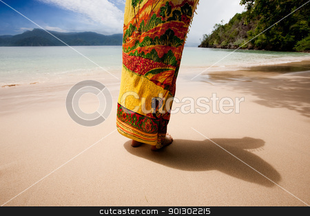 Tropical Paradise stock photo, A woman standing on a private beach - tropical paradise by Tyler Olson