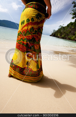 Tropical Woman stock photo, A female standing on a secluded beach by Tyler Olson