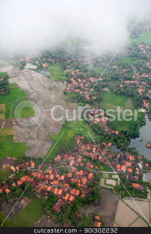 Aerial Tropical Landscape stock photo, An aerial of an urban tropical area by Tyler Olson