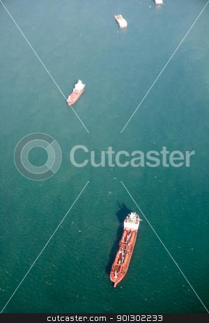 Ocean Tanker Aerial stock photo, An ocean tanker on the open sea by Tyler Olson