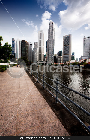 Singapore Skyline stock photo, The Singapore skyline from the Singapore River by Tyler Olson