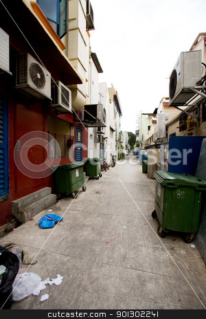 Back Alley Garbage stock photo, Garbage in a back alley in a big city by Tyler Olson