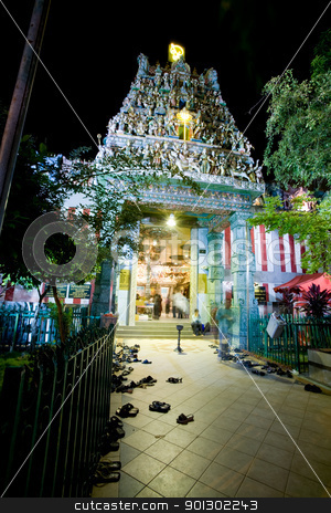 Hindu Temple stock photo, A night shot of a hindu temple in Singapore by Tyler Olson