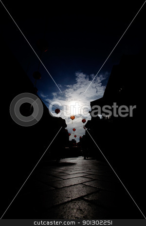 Chinese New Years stock photo, A street with Chinese New Years decorations by Tyler Olson