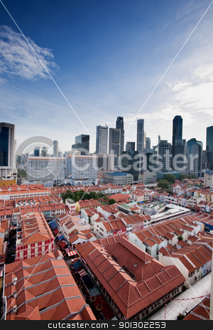 Chinatown Singapore stock photo, A view over Chinatown Singapore looking into the city center by Tyler Olson