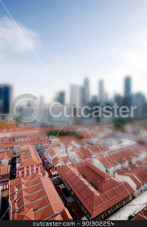 Tilt Shift Singapore stock photo, Chinatown with Singapore city center in the background taken with a tilt shift lens by Tyler Olson