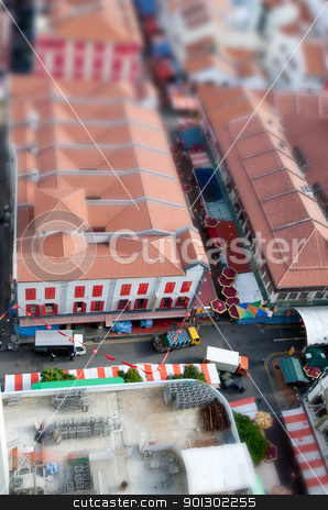 Tilt Shift Chinatown stock photo, A detail of Chinatown with a til shift lens by Tyler Olson