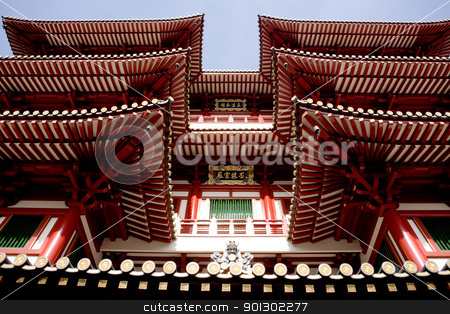 Buddhist Temple Detail stock photo, An archtiecture detail of a buddhist temple by Tyler Olson