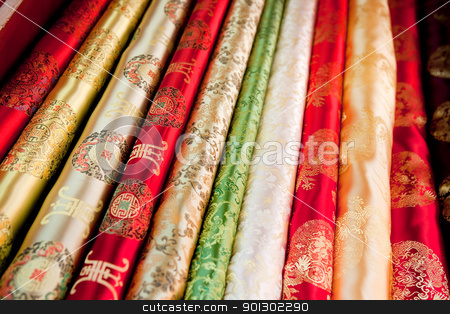 Asian Cloth Pattern stock photo, A collection of asian cloth on the roll background pattern by Tyler Olson