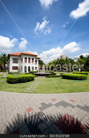 White Colonial Building stock photo, A white colonial house in singpore by Tyler Olson