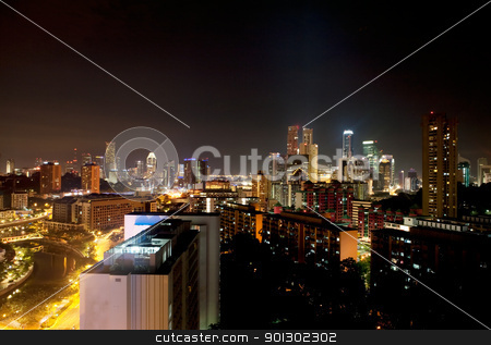 Singapore Night stock photo, A cityscape of singapore at night by Tyler Olson