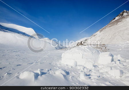 Igloo stock photo, Igloo in a winter mountain setting by Tyler Olson
