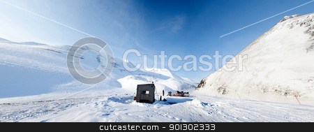 Winter Base Camp stock photo, A base camp for a winter expedition - Spitsbergen, Svalbard, Norway by Tyler Olson